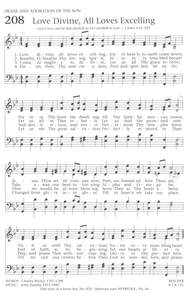 Baptist Hymnal 1991 208 Love Divine All Loves Excelling Hymnary