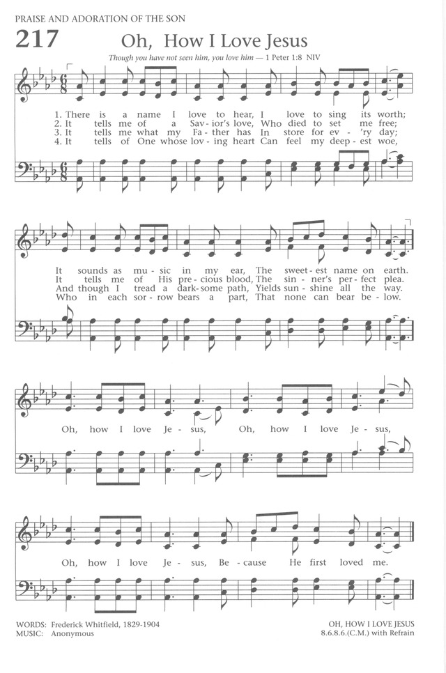 Lyric oh how i love jesus lyrics : Baptist Hymnal 1991 217. There is a name I love to hear | Hymnary.org