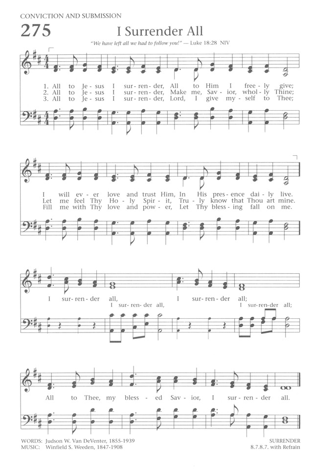 Baptist Hymnal 1991 275. All to Jesus I surrender   Hymnary.org