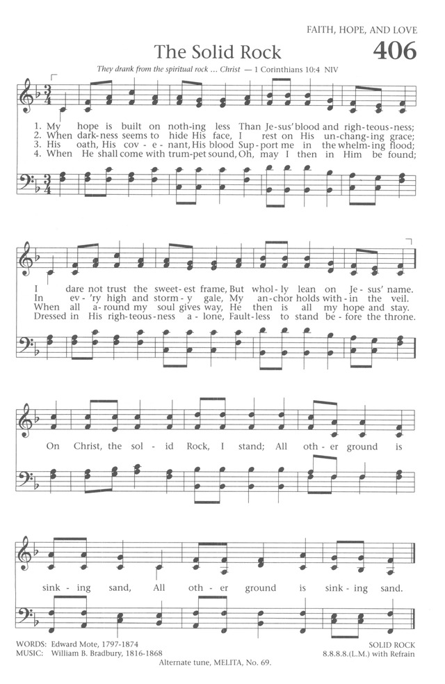 Baptist Hymnal 1991 406 My Hope Is Built On Nothing Less