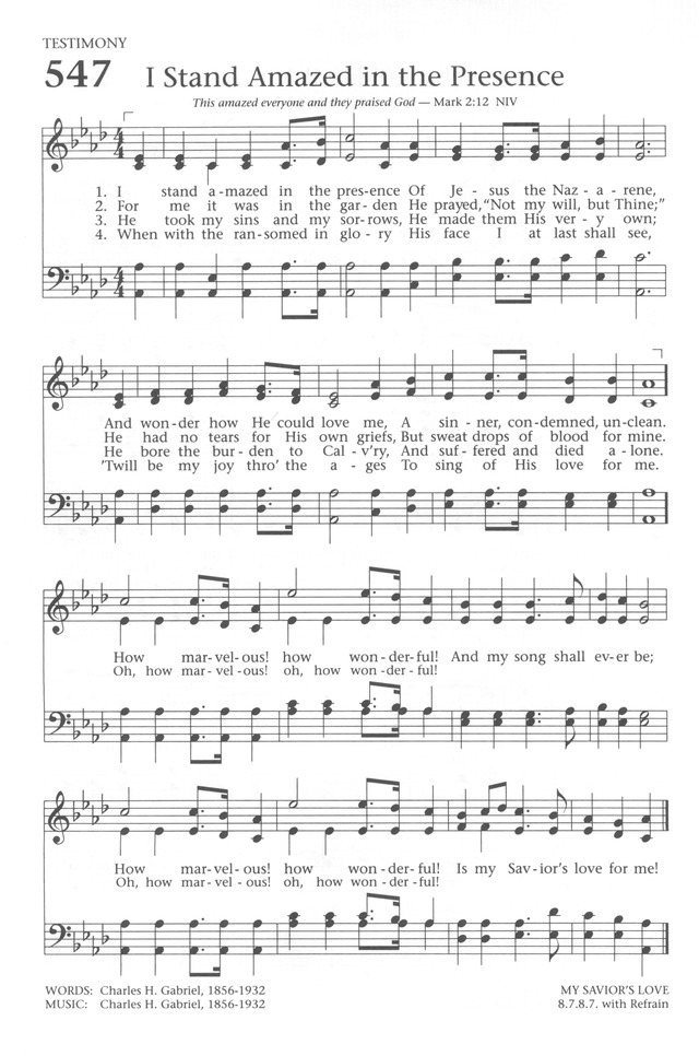 Baptist Hymnal 1991 547 I Stand Amazed In The Presence