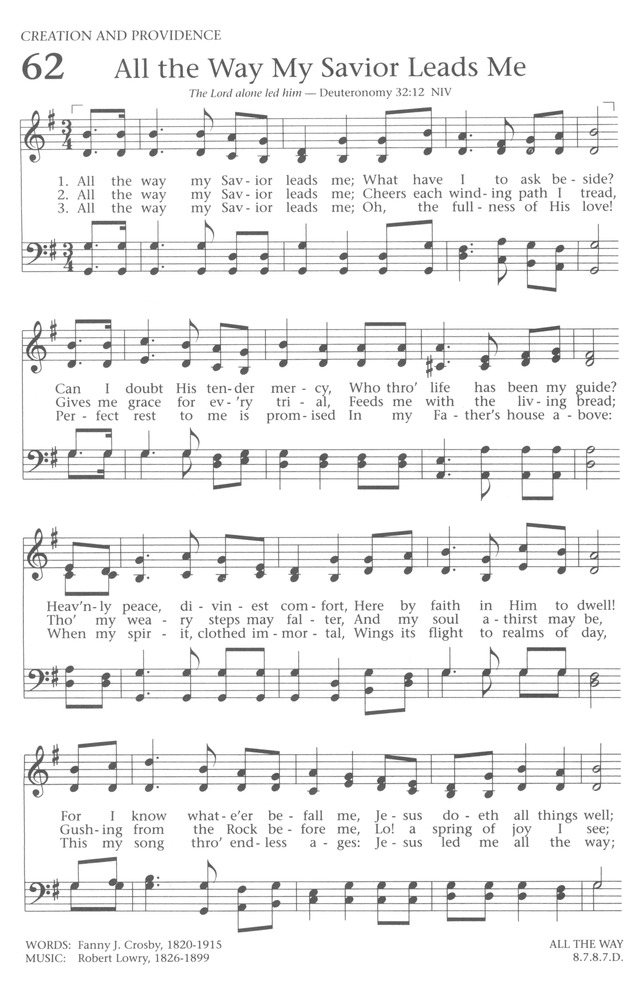 Baptist Hymnal 1991 62. All the way my Savior leads me | Hymnary.org