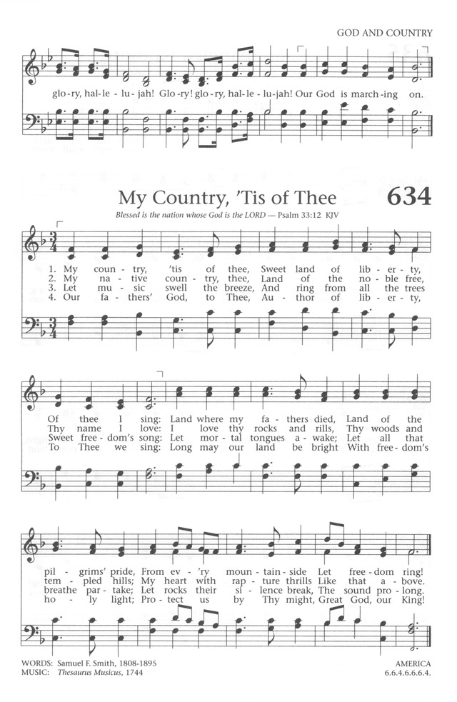 Lyric my country tis of thee lyrics : Baptist Hymnal 1991 634. My country, 'tis of thee   Hymnary.org