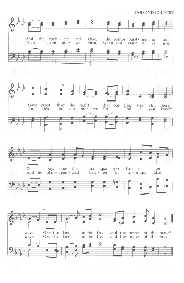 Lyric star banner lyrics : Baptist Hymnal 1991 635. O say, can you see, by the dawn's early ...