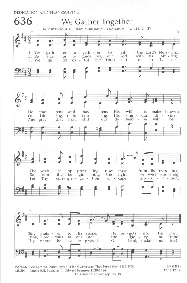 Baptist Hymnal 1991 636. We gather together to ask the Lord's ...