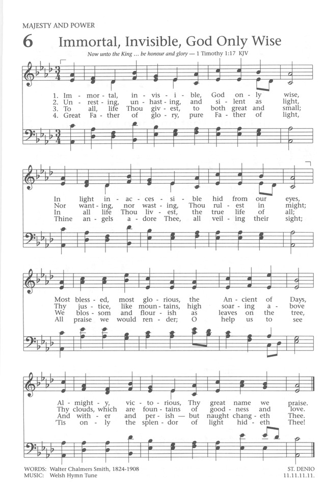 Baptist Hymnal 1991 page 6