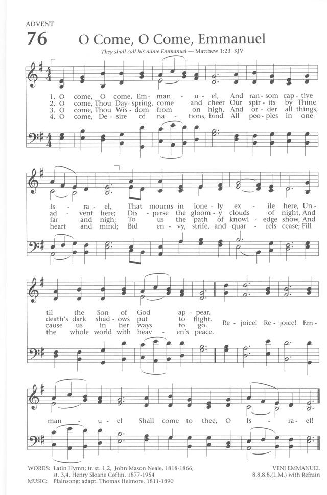 Baptist Hymnal 1991 76. O come, O come, Emmanuel | Hymnary.org