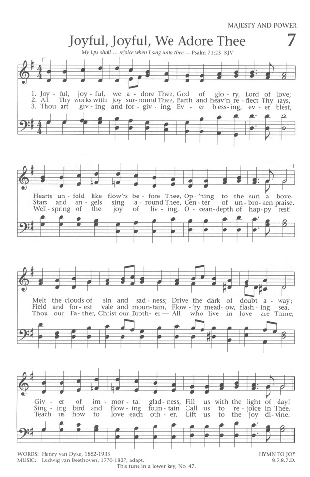 Baptist Hymnal 1991 page 7