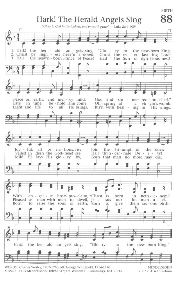 Baptist Hymnal 1991 88 Hark The Herald Angels Sing Hymnary