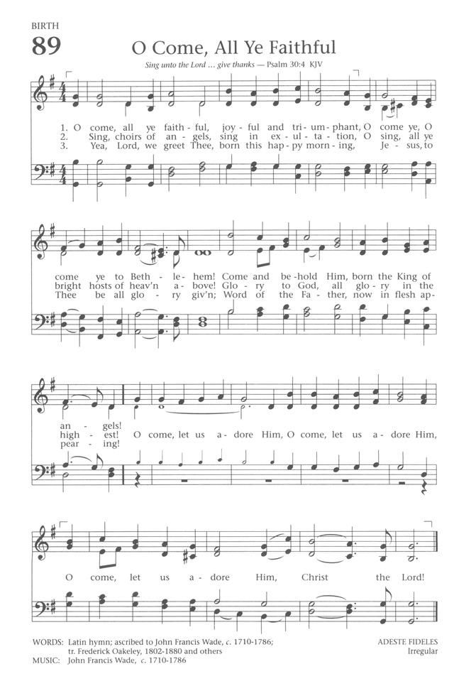 Baptist hymnal 1991 89 o come all ye faithful joyful and o come all ye faithful joyful and triumphant o come ye o come ye to bethlehem come and behold him born the king of angels m4hsunfo