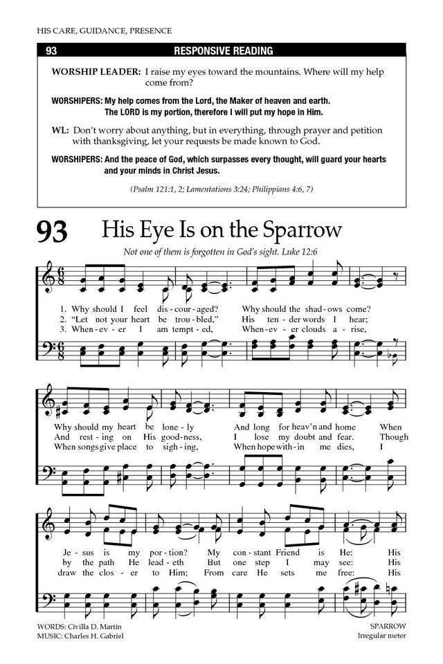 All Music Chords his eye is on the sparrow music sheet : Baptist Hymnal 2008 93. Why should I feel discouraged? | Hymnary.org