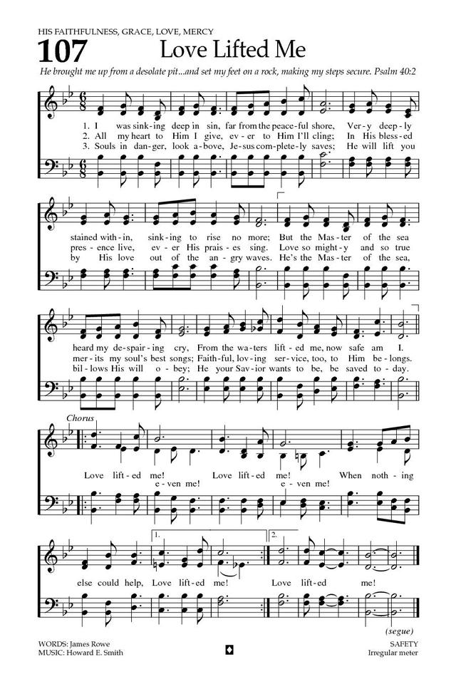 Baptist Hymnal 2008 107. I was sinking deep in sin, far from the ...