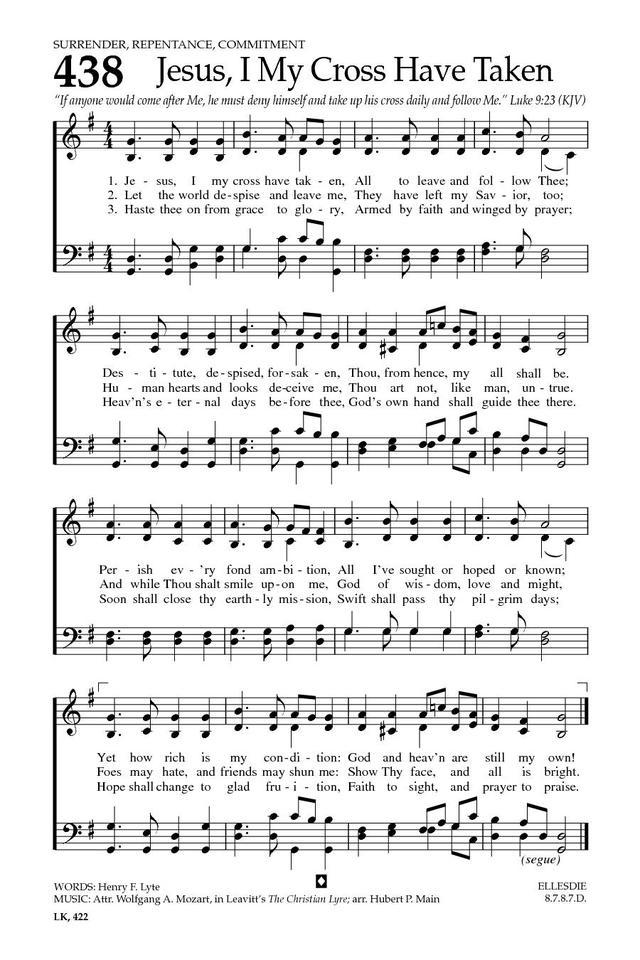 Baptist Hymnal 2008 438 Jesus I My Cross Have Taken Hymnary