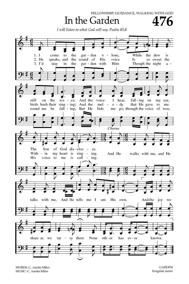 Lucrative image for in the garden hymn printable
