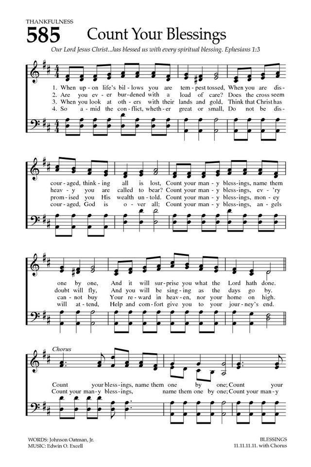 Count Your Blessings Hymnary Org