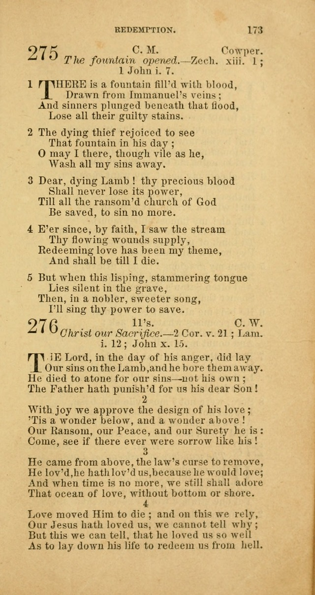 The Baptist Hymn Book: comprising a large and choice collection of psalms, hymns and spiritual songs, adapted to the faith and order of the Old School, or Primitive Baptists (2nd stereotype Ed.) page 173
