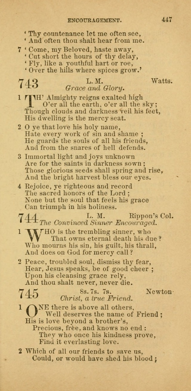 The Baptist Hymn Book: comprising a large and choice collection of psalms, hymns and spiritual songs, adapted to the faith and order of the Old School, or Primitive Baptists (2nd stereotype Ed.) page 449