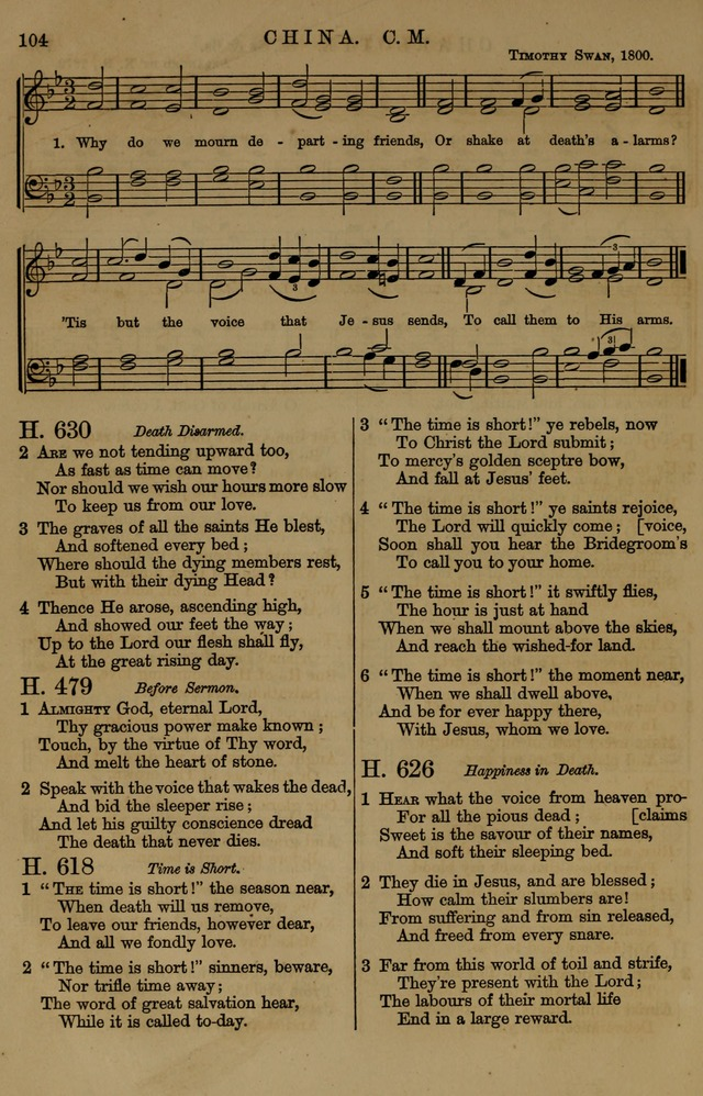 Book of Hymns and Tunes, comprising the psalms and hymns for the worship of God, approved by the general assembly of 1866, arranged with appropriate tunes... by authority of the assembly of 1873 page 100