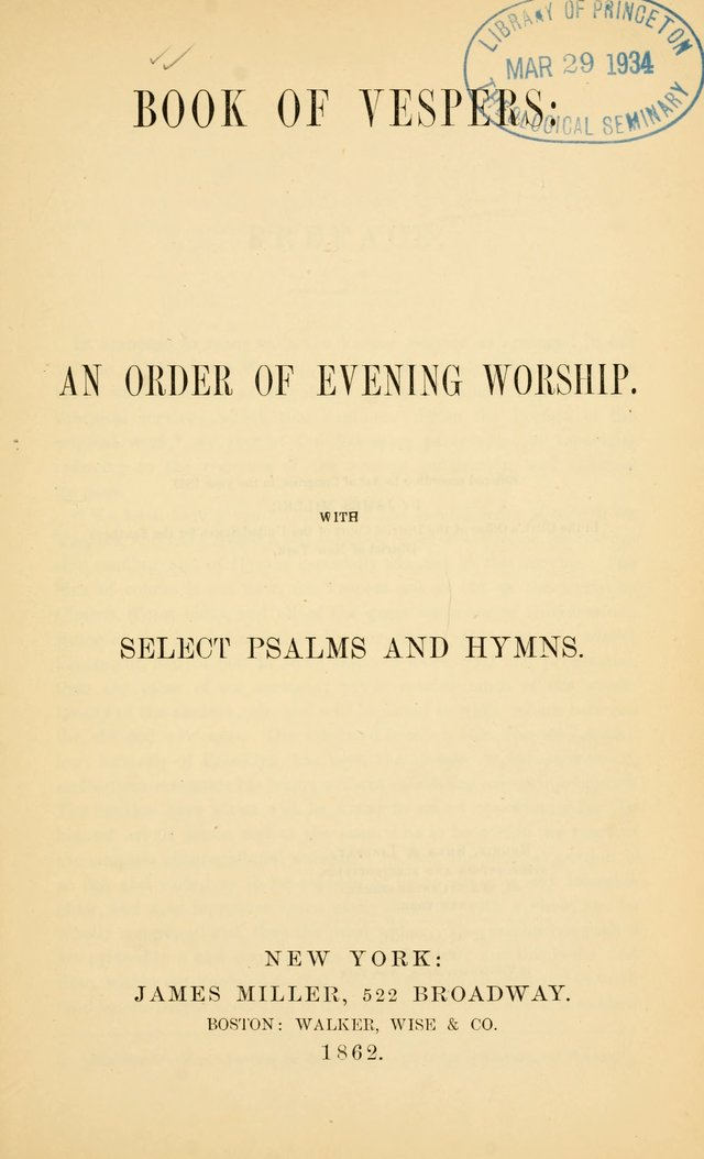 Book of vespers: an order of evening worship ; with select Psalms and hymns. page 10