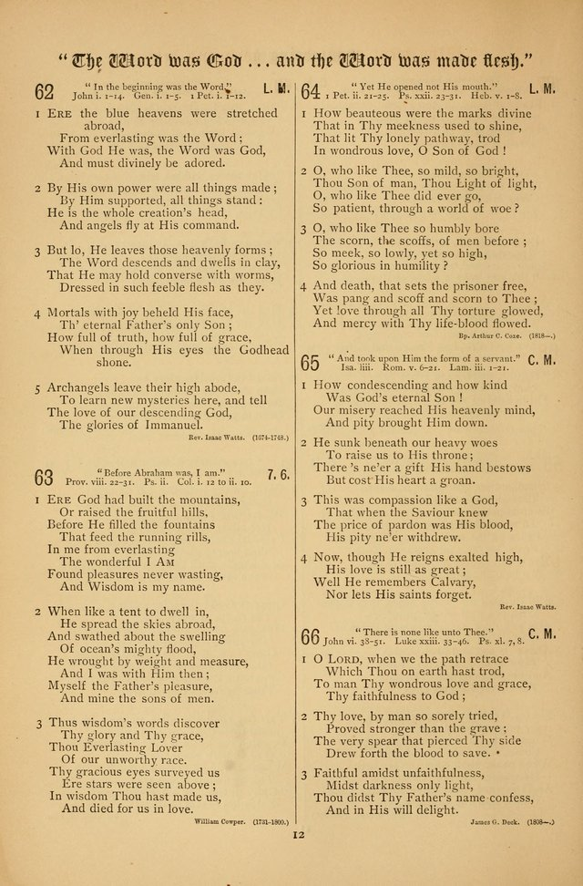 "The Clifton Chapel Collection of ""Psalms, Hymns, and Spiritual Songs"": for public, social and family worship and private devotions at the Sanitarium, Clifton Springs, N. Y. page 12"