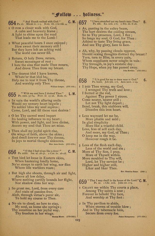 "The Clifton Chapel Collection of ""Psalms, Hymns, and Spiritual Songs"": for public, social and family worship and private devotions at the Sanitarium, Clifton Springs, N. Y. page 125"