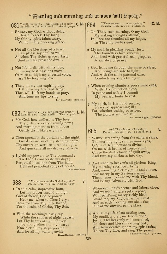 "The Clifton Chapel Collection of ""Psalms, Hymns, and Spiritual Songs"": for public, social and family worship and private devotions at the Sanitarium, Clifton Springs, N. Y. page 130"