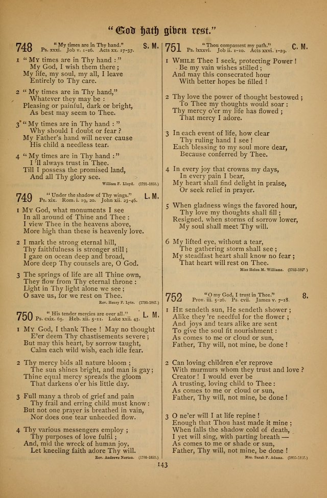 "The Clifton Chapel Collection of ""Psalms, Hymns, and Spiritual Songs"": for public, social and family worship and private devotions at the Sanitarium, Clifton Springs, N. Y. page 143"