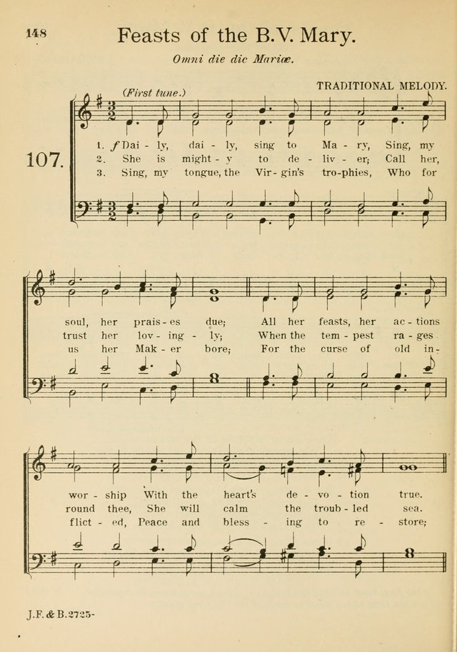 Catholic Church Hymnal with Music 107a. Daily, daily, sing to Mary ...