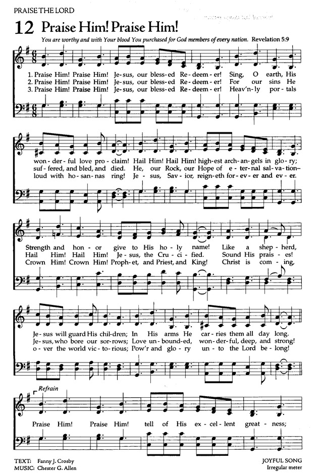 The Celebration Hymnal: songs and hymns for worship 12. Praise Him ...