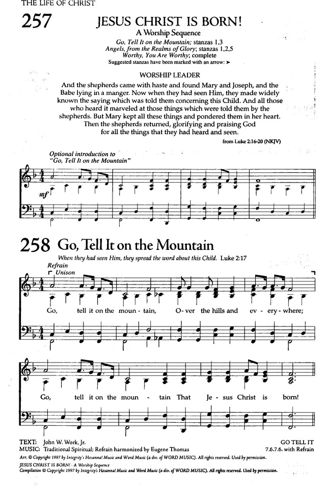 Lyric go tell it on the mountain hymn lyrics : The Celebration Hymnal: songs and hymns for worship 258. While ...