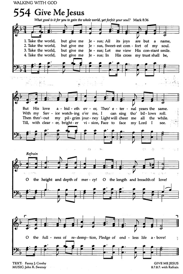 Give Me Jesus Hymnary