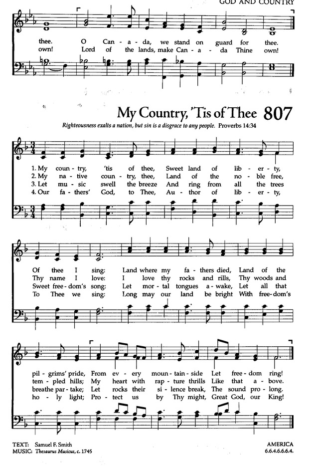 Lyric my country tis of thee lyrics : The Celebration Hymnal: songs and hymns for worship 807. My ...