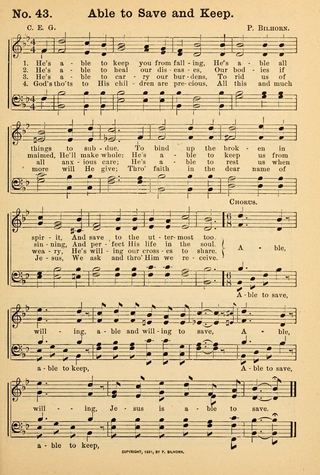1 he u0027s able to keep you from falling he u0027s able all things to subdue to bind up the broken in spirit and save to the uttermost too  crowning glory no  2  a collection of gospel hymns 43  he u0027s able      rh   hymnary org