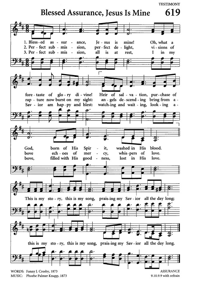 Celebrating Grace Hymnal 619. Blessed assurance, Jesus is mine ...