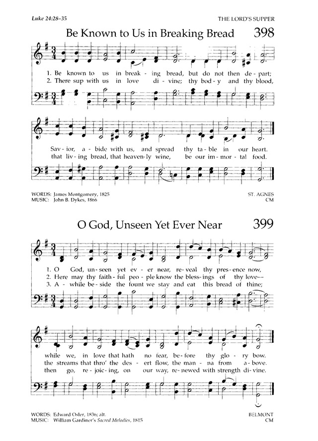 Chalice Hymnal 398. Be known to us in breaking bread | Hymnary.org