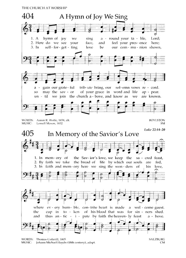 In Memory Of The Savior S Love Hymnary Org