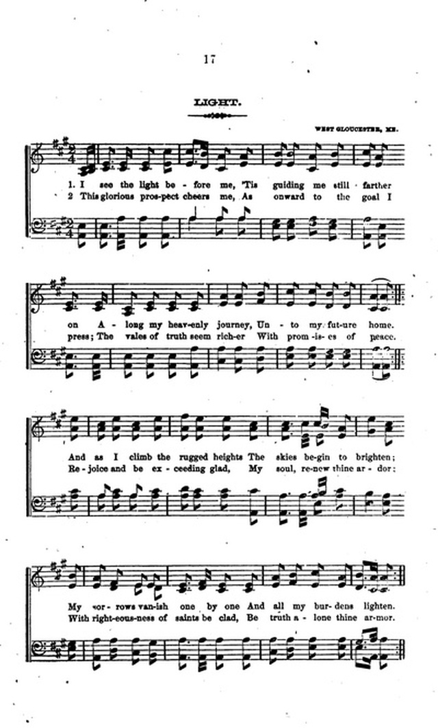 Piano i see the light piano sheet music : A Collection of Hymns and Anthems Adapted to Public Worship 17. I ...