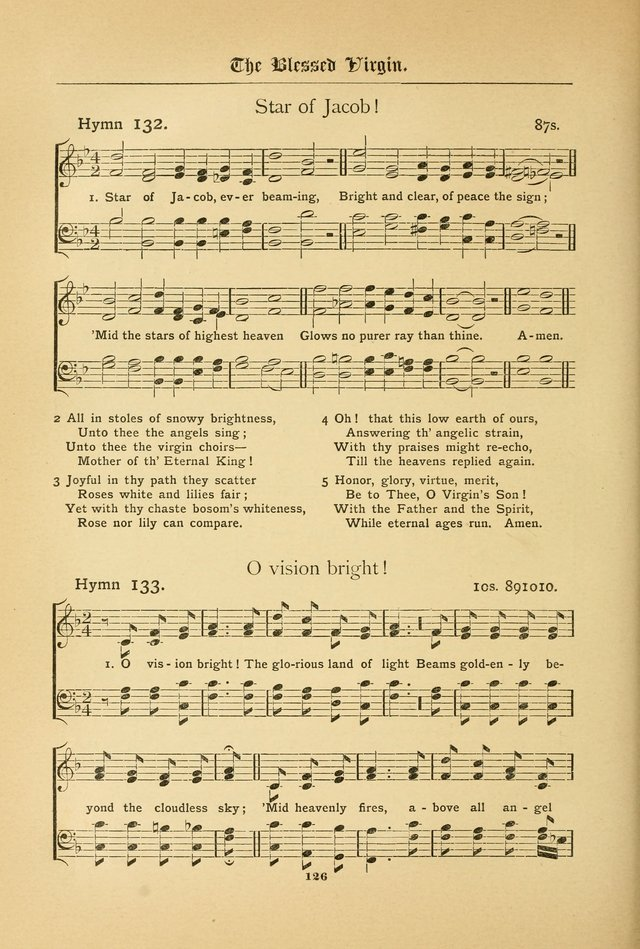The Catholic Hymnal: containing hymns for congregational and home use, and the vesper psalms, the office of compline, the litanies, hymns at benediction, etc. page 126