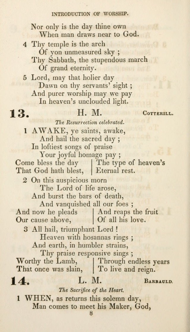 Christian Hymns for Public and Private Worship: a collection compiled  by a committee of the Cheshire Pastoral Association (11th ed.) page 8