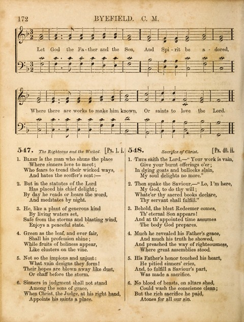 Congregational Hymn and Tune Book; containing the Psalms and Hymns of the General Association of Connecticut, adapted to Suitable Tunes page 172