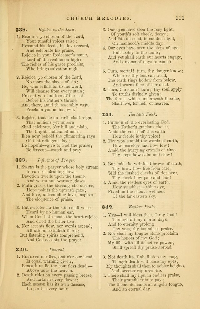 Church Melodies: collection of psalms and hymns, with appropriate music. For the use of congregations. page 111
