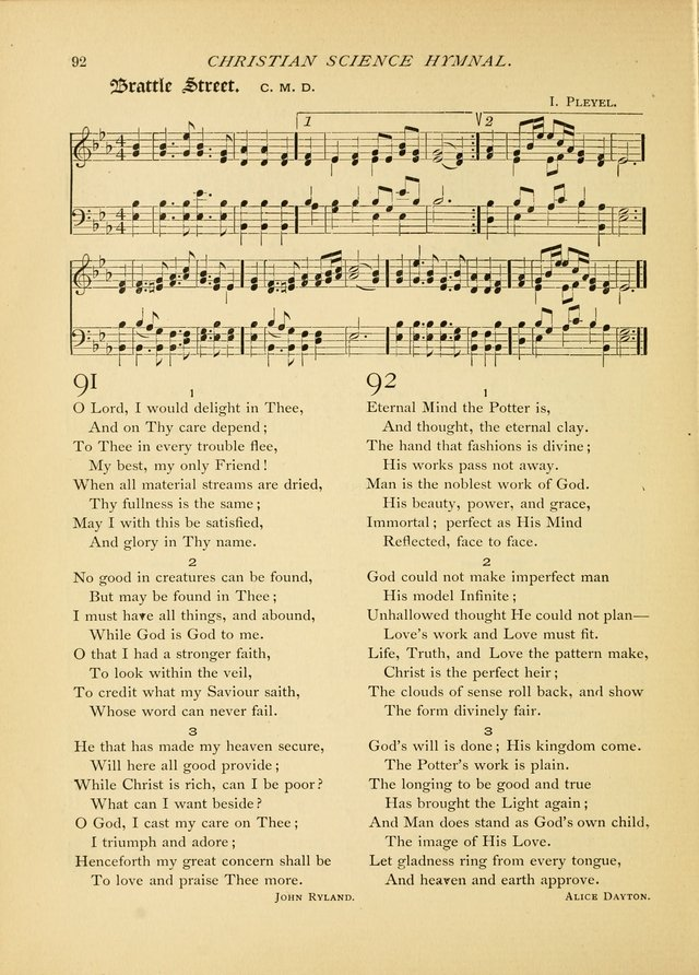 Christian Science Hymnal: a selection of spiritual songs page 92