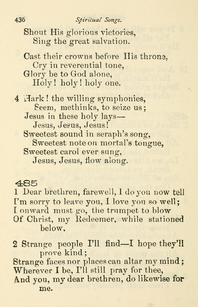 A Choice Selection of Hymns and Spiritual Songs for the use of the Baptist Church and all lovers of song page 439