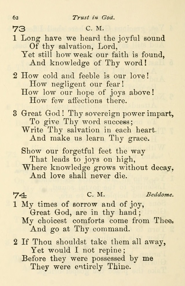 A Choice Selection of Hymns and Spiritual Songs for the use of the Baptist Church and all lovers of song page 65