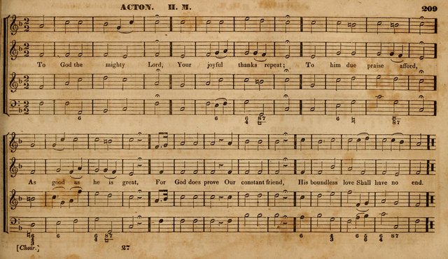 The Choir: or, Union collection of church music. Consisting of a great variety of psalm and hymn tunes, anthems, &c. original and selected. Including many beautiful subjects from the works.. (2nd ed.) page 209