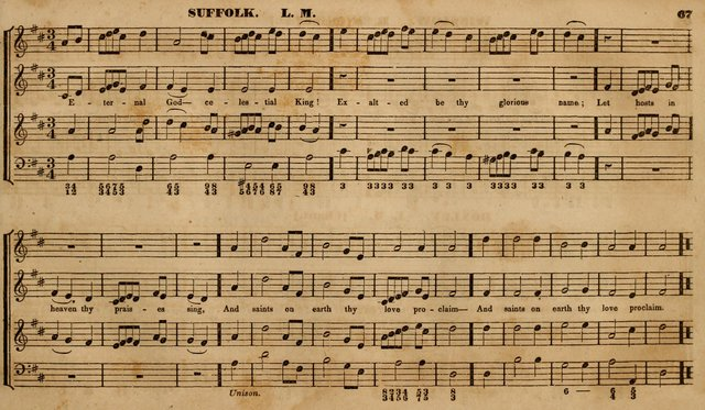 The Choir: or, Union collection of church music. Consisting of a great variety of psalm and hymn tunes, anthems, &c. original and selected. Including many beautiful subjects from the works.. (2nd ed.) page 67