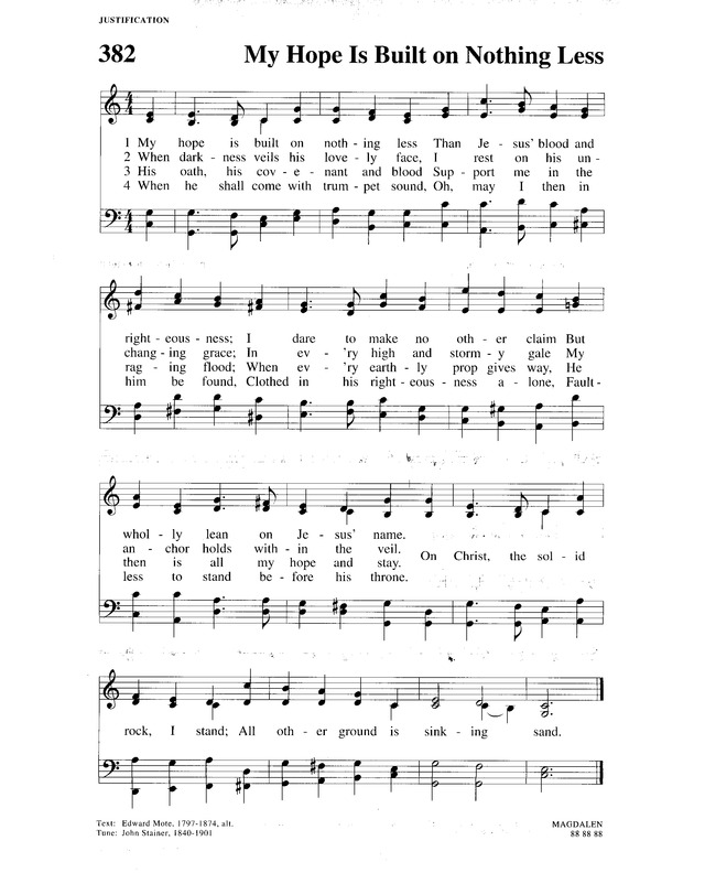 Christian Worship A Lutheran Hymnal 382 My Hope Is Built On