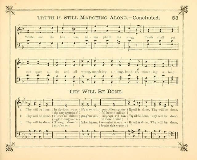 Carols of Joy: choice collection of songs and hymns for the Sunday School, Bible class, and the Home Circle to which has been added an easy method of Rudimental Instruction in Music, for Week-day Stud page 83