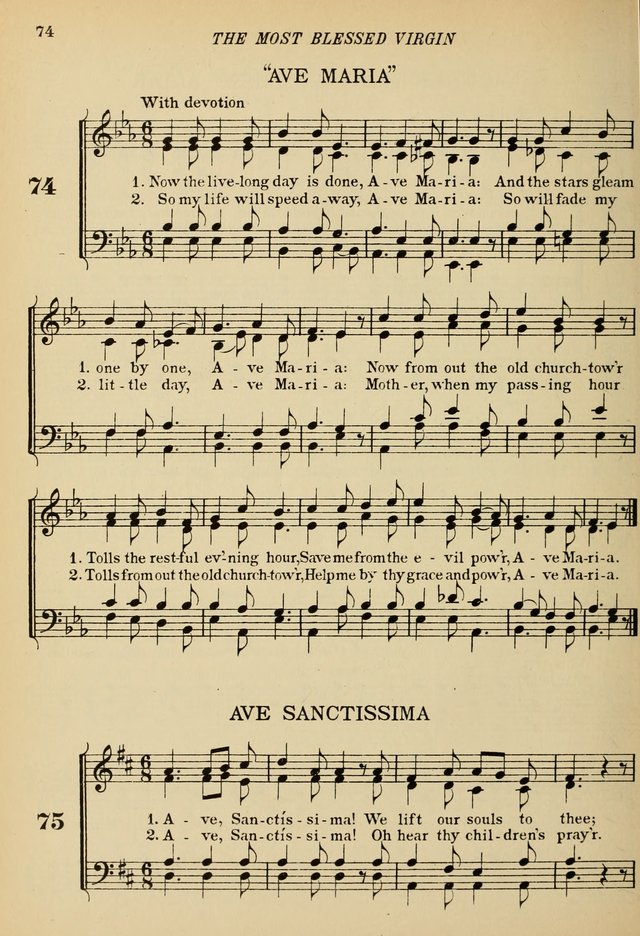 The De La Salle Hymnal: for Catholic schools and choirs page 74