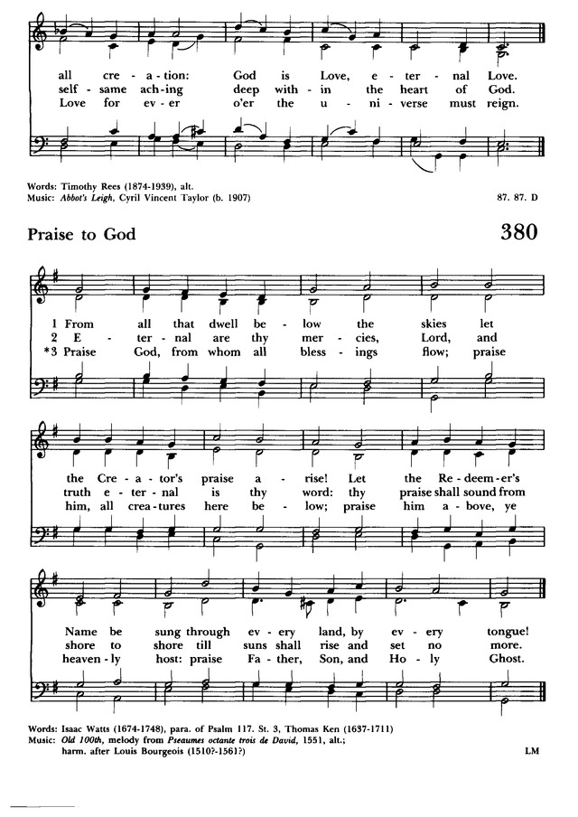Lyric praise god from whom all blessings flow lyrics : Hymnal 1982: according to the use of the Episcopal Church 380 ...